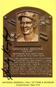 Sandy Koufax autographed Hall of Fame plaque postcard