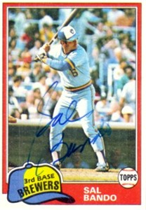 Sal Bando autographed Milwaukee Brewers 1981 Topps card