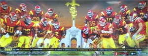 2007 USC Trojans football schedule poster autographed by Sam Baker Fred Davis Sedrick Ellis