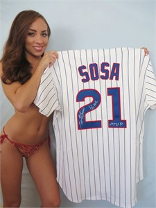Sammy Sosa autographed 1998 Chicago Cubs authentic game model jersey inscribed 66 HR MVP (TSC)