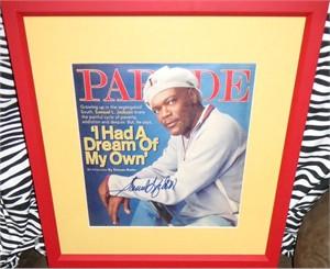 Samuel L. Jackson autographed Parade magazine cover matted & framed