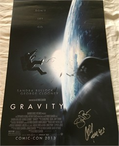 Sandra Bullock & Alfonso Cuaron autographed Gravity 2013 Comic-Con exclusive movie poster