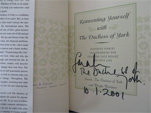 Sarah Ferguson autographed Reinventing Yourself hardcover book inscribed & dated