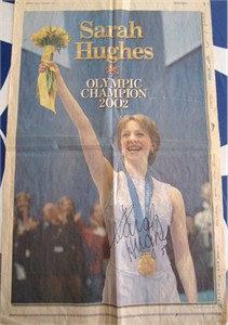 Sarah Hughes autographed 2002 Olympic Ice Skating Champion newspaper