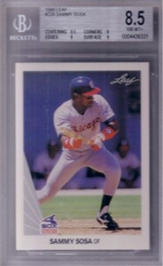Sammy Sosa 1990 Leaf Rookie Card graded BGS 8.5 NrMt-Mt+