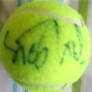 Sandrine Testud autographed tennis ball