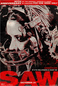 SAW 10th Anniversary Halloween 2014 re-release mini 13x20 movie poster (black & red)
