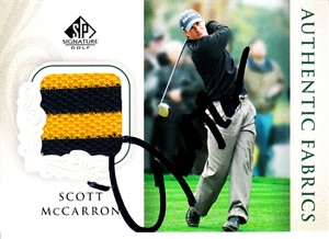 Scott McCarron autographed 2004 SP Signature golf tournament worn shirt card