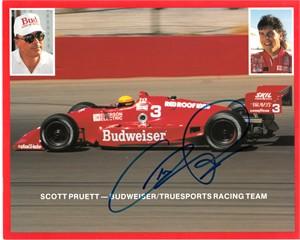 Scott Pruett autographed Budweiser Racing 8x10 photo card