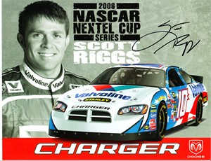 Scott Riggs autographed 2006 Dodge Charger NASCAR photo card