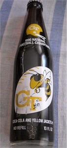 Scott Sisson autographed 1990 Georgia Tech National Champions Coke bottle