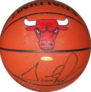 Scottie Pippen autographed NBA basketball with painted Chicago Bulls logo (UDA)