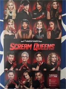 Scream Queens cast 2015 San Diego Comic-Con mini promo poster (Jamie Lee Curtis Ariana Grande Lea Michele)