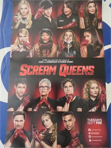 Scream Queens cast autographed 2015 Comic-Con poster (Abigail Breslin Jamie Lee Curtis Lea Michele Emma Roberts)