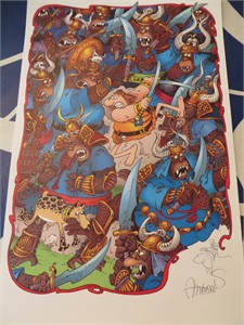 Sergio Aragones autographed Groo fighting apes 11x17 lithograph with sketch