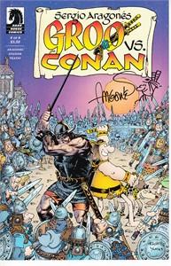 Sergio Aragones autographed & sketched Groo vs. Conan comic book