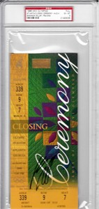 Shannon Miller autographed 1996 Olympic Closing Ceremony full unused ticket PSA/DNA graded PSA 6