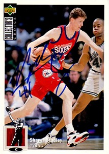 Shawn Bradley autographed Philadelphia 76ers 1994-95 Collector's Choice 5x7 jumbo card