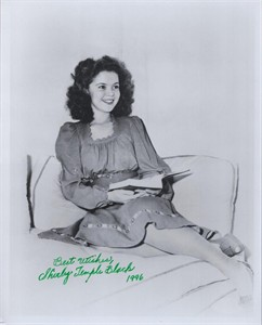 Shirley Temple autographed vintage 8x10 black & white photo dated 1996 (JSA)