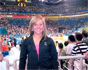 Shawn Johnson autographed 2008 Olympics 8x10 gymnastics photo