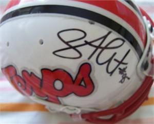 Shawne Merriman autographed Maryland Terrapins mini helmet