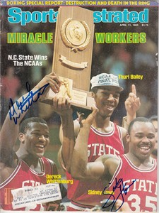 Sidney Lowe & Dereck Whittenburg autographed North Carolina State 1983 NCAA Champions Sports Illustrated