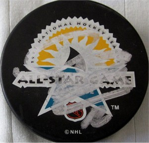 Simon Gagne autographed 1997 NHL All-Star Game puck