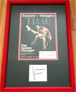Simone Biles autograph matted & framed with 2016 Olympics Time magazine cover