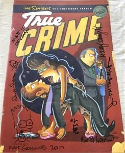 The Simpsons cast autographed 2017 Comic-Con poster (Matt Groening Nancy Cartwright Joe Mantegna)