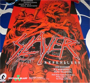 Slayer complete group autographed 2016 Comic-Con 18x24 poster (Kerry King)