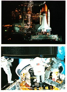 Space Shuttle Endeavour 1992 launch and satellite capture 1994 NASA postcard set (2)
