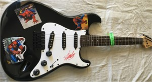 Stan Lee autographed Spider-Man Fender Bullet electric guitar