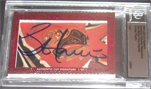 Stan Mikita & Tony Esposito certified autograph 2012 Leaf Executive Masterpiece Dual Cut Signature card #1/1