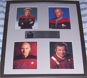 Star Trek Captains autographed photos matted & framed Avery Brooks Kate Mulgrew William Shatner Patrick Stewart