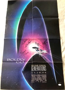Star Trek Generations cast autographed movie poster LeVar Burton Michael Dorn Walter Koenig Marina Sirtis William Shatner Brent Spiner