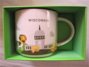 Starbucks 2013 You Are Here Collection Wisconsin 14 ounce collector coffee mug NEW