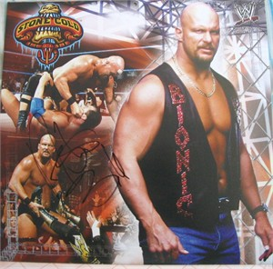 Stone Cold Steve Austin autographed 2003 WWE wrestling calendar page