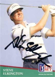 Steve Elkington autographed 1991 Pro Set golf card