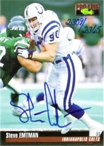 Steve Emtman certified autograph Indianapolis Colts 1995 Pro Line card