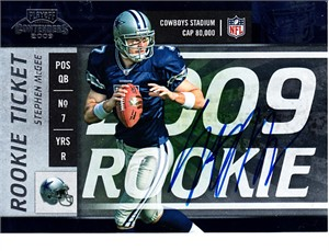 Stephen McGee certified autograph Dallas Cowboys 2009 Playoff Contenders Rookie Card