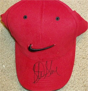 Sterling Sharpe autographed red Nike cap or hat