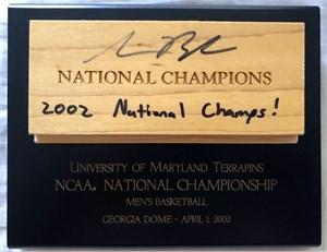 Steve Blake autographed Maryland Terrapins 2002 NCAA National Championship floor plaque
