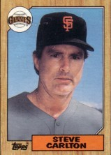 Steve Carlton San Francisco Giants 1987 Topps mini wax box card