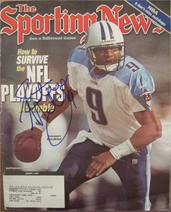 Steve McNair autographed Tennessee Titans 2001 Sporting News magazine
