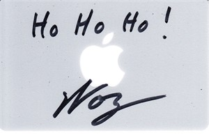 Steve Wozniak autographed Apple gift card inscribed Ho Ho Ho! (JSA)