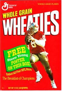 Steve Young San Francisco 49ers 1993 Wheaties mini foldout poster