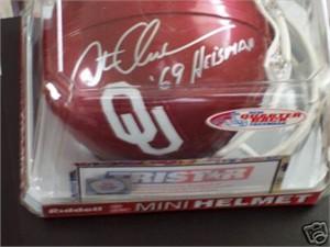 Steve Owens autographed Oklahoma Sooners mini helmet inscribed '69 Heisman