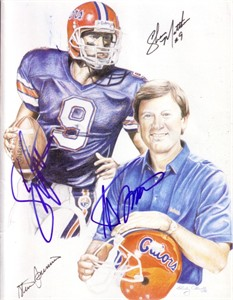 Steve Spurrier & Shane Matthews autographed Florida Gators artwork