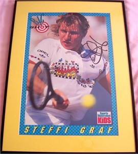 Steffi Graf autographed Sports Illustrated for Kids tennis poster matted & framed