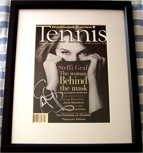 Steffi Graf autographed 1998 Tennis magazine cover matted & framed